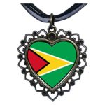 GiftJewelryShop-Bronze-Retro-Style-Guyana-flag-Flower-Heart-Pendant-Charm-Necklaces-17-0