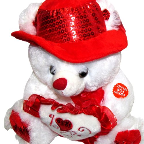 Musical i love you teddy bear with red hat plays the love song musical i love you teddy bear voltagebd Gallery