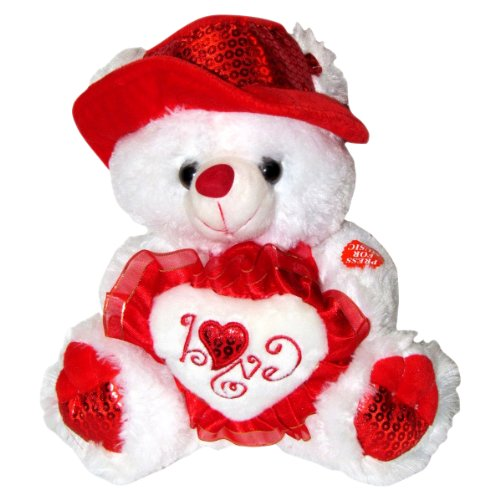 Musical i love you teddy bear with red hat plays the for Best gift for valentine day for girlfriend