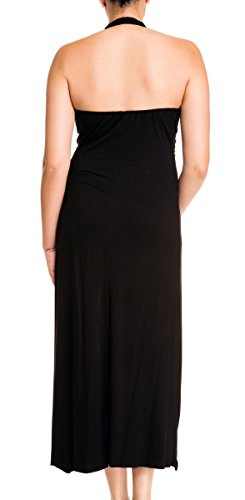 Evogues Plus Size Maxi Cocktail Cruise Halter Dress With Embroidery