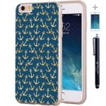 iPhone-6-6s-Case-True-Color-Multiple-Golden-Anchors-on-Navy-Blue-Slim-Hybrid-Hard-Back-Soft-TPU-Bumper-Protective-Durable-True-Protect-Series-FREE-Stylus-Screen-Protector-Gold-0